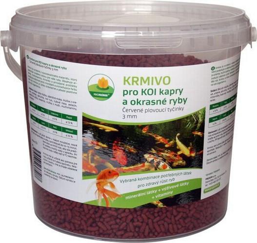 Proxim krmivo pro Koi kapry a okrasné ryby 3mm 2l červené plovoucí tyčinky